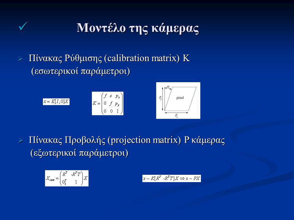 Μοντέλο της κάμερας Μοντέλο της κάμερας  Πίνακας Ρύθμισης (calibration matrix) K (εσωτερικοί παράμετροι) (εσωτερικοί παράμετροι)  Πίνακας Προβολής (projection matrix) P κάμερας (εξωτερικοί παράμετροι) (εξωτερικοί παράμετροι)