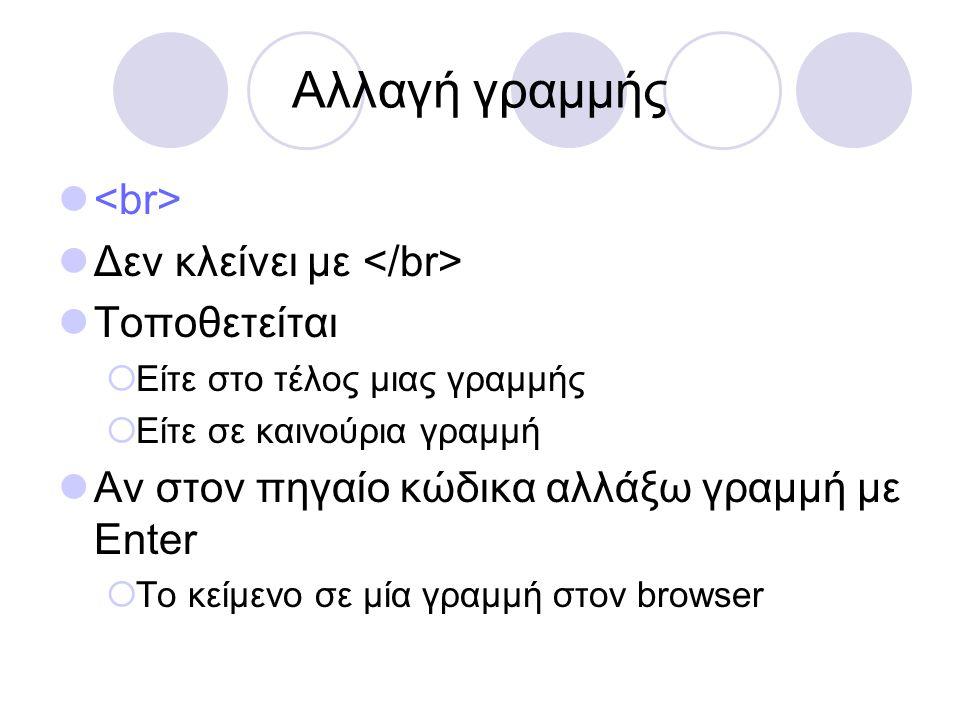 Αλλαγή γραμμής Δεν κλείνει με Τοποθετείται  Είτε στο τέλος μιας γραμμής  Είτε σε καινούρια γραμμή Αν στον πηγαίο κώδικα αλλάξω γραμμή με Enter  Το κείμενο σε μία γραμμή στον browser