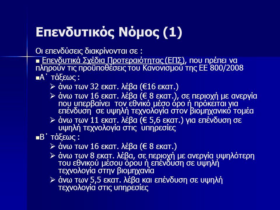 Επενδυτικός Νόμος (1) Οι επενδύσεις διακρίνονται σε : Επενδυτικά Σχέδια Προτεραιότητας (ΕΠΣ), που πρέπει να πληρούν τις προϋποθέσεις του Κανονισμού της ΕΕ 800/2008 Α΄ τάξεως :   άνω των 32 εκατ.
