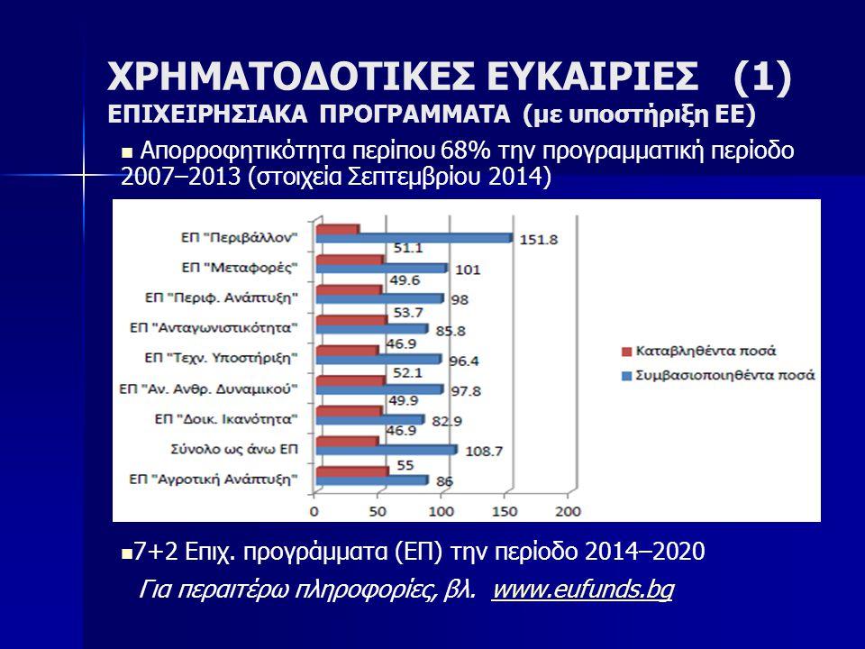 ΧΡΗΜΑΤΟΔΟΤΙΚΕΣ ΕΥΚΑΙΡΙΕΣ (1) ΕΠΙΧΕΙΡΗΣΙΑΚΑ ΠΡΟΓΡΑΜΜΑΤΑ (με υποστήριξη ΕΕ) Απορροφητικότητα περίπου 68% την προγραμματική περίοδο 2007–2013 (στοιχεία Σεπτεμβρίου 2014) 7+2 Επιχ.