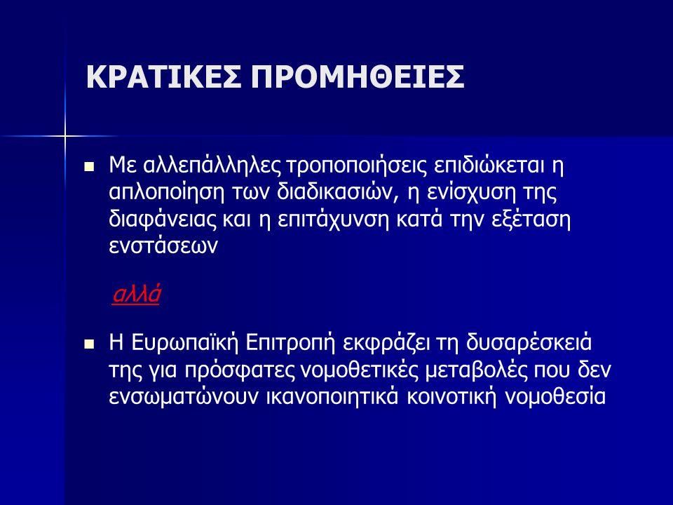 ΚΡΑΤΙΚΕΣ ΠΡΟΜΗΘΕΙΕΣ Με αλλεπάλληλες τροποποιήσεις επιδιώκεται η απλοποίηση των διαδικασιών, η ενίσχυση της διαφάνειας και η επιτάχυνση κατά την εξέταση ενστάσεων αλλά Η Ευρωπαϊκή Επιτροπή εκφράζει τη δυσαρέσκειά της για πρόσφατες νομοθετικές μεταβολές που δεν ενσωματώνουν ικανοποιητικά κοινοτική νομοθεσία