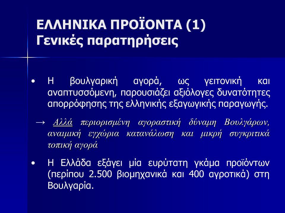ΕΛΛΗΝΙΚΑ ΠΡΟΪΟΝΤΑ (1) Γενικές παρατηρήσεις Η βουλγαρική αγορά, ως γειτονική και αναπτυσσόμενη, παρουσιάζει αξιόλογες δυνατότητες απορρόφησης της ελληνικής εξαγωγικής παραγωγής.