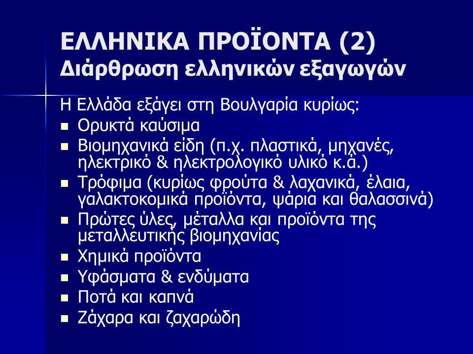 ΕΛΛΗΝΙΚΑ ΠΡΟΪΟΝΤΑ (2) Διάρθρωση ελληνικών εξαγωγών Η Ελλάδα εξάγει στη Βουλγαρία κυρίως: Ορυκτά καύσιμα Βιομηχανικά είδη (π.χ.