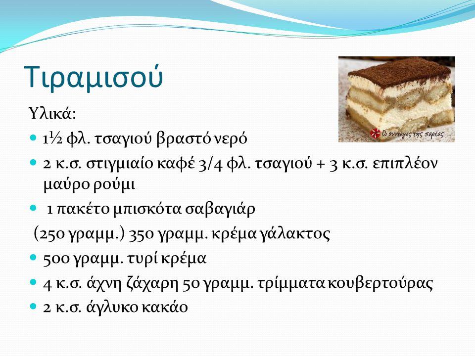 Tιραμισού Υλικά: 1½ φλ. τσαγιού βραστό νερό 2 κ.σ. στιγμιαίο καφέ 3/4 φλ. τσαγιού + 3 κ.σ. επιπλέον μαύρο ρούμι 1 πακέτο μπισκότα σαβαγιάρ (250 γραμμ.