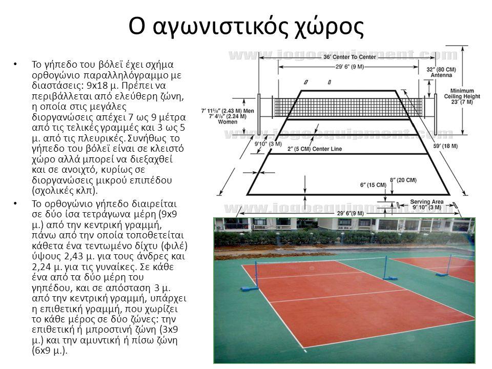 Ο αγωνιστικός χώρος Το γήπεδο του βόλεϊ έχει σχήμα ορθογώνιο παραλληλόγραμμο με διαστάσεις: 9x18 μ.