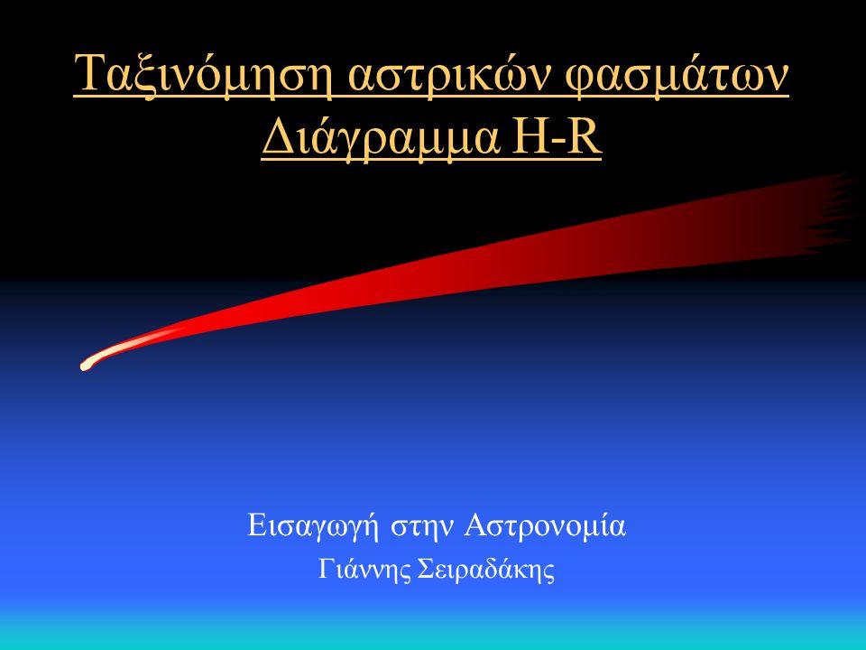 Ταξινόμηση αστρικών φασμάτων Διάγραμμα Η-R Εισαγωγή στην Αστρονομία Γιάννης Σειραδάκης