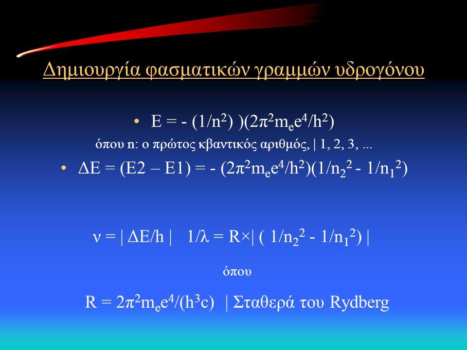 Δημιουργία φασματικών γραμμών υδρογόνου Ε = - (1/n 2 ) )(2π 2 m e e 4 /h 2 ) όπου n: ο πρώτος κβαντικός αριθμός, | 1, 2, 3,... ΔΕ = (Ε2 – Ε1) = - (2π