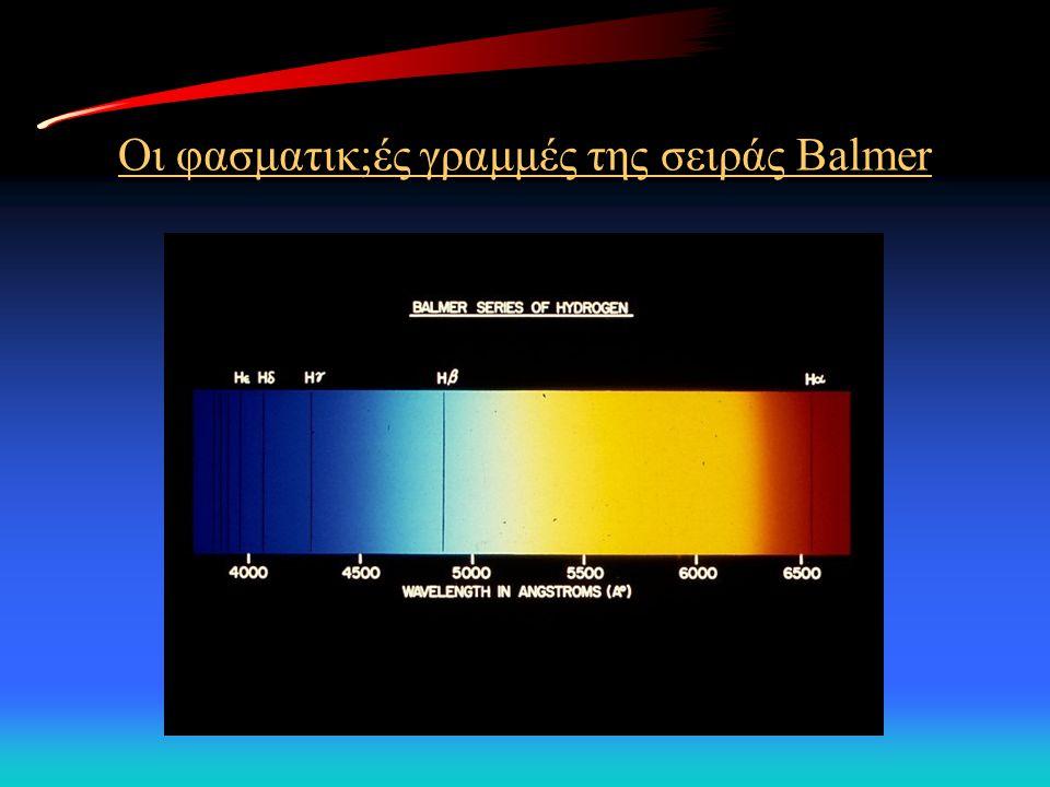 Οι φασματικ;ές γραμμές της σειράς Balmer
