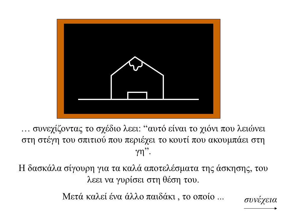 """συνέχεια … συνεχίζοντας το σχέδιο λεει: """"αυτό είναι το χιόνι που λειώνει στη στέγη του σπιτιού που περιέχει το κουτί που ακουμπάει στη γη"""". Η δασκάλα"""