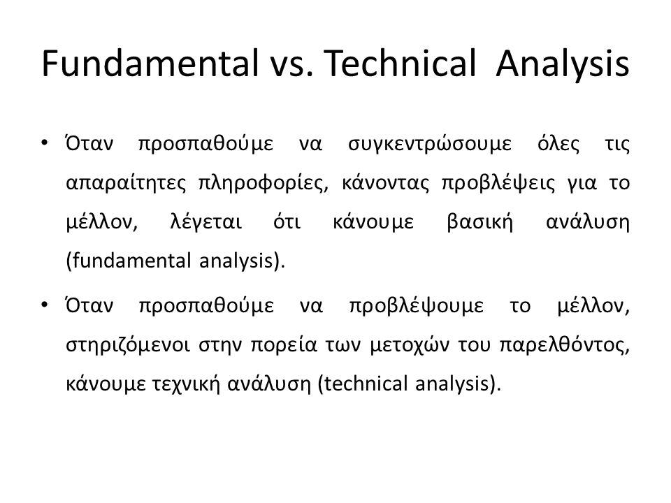 Fundamental vs. Technical Analysis Όταν προσπαθούμε να συγκεντρώσουμε όλες τις απαραίτητες πληροφορίες, κάνοντας προβλέψεις για το μέλλον, λέγεται ότι
