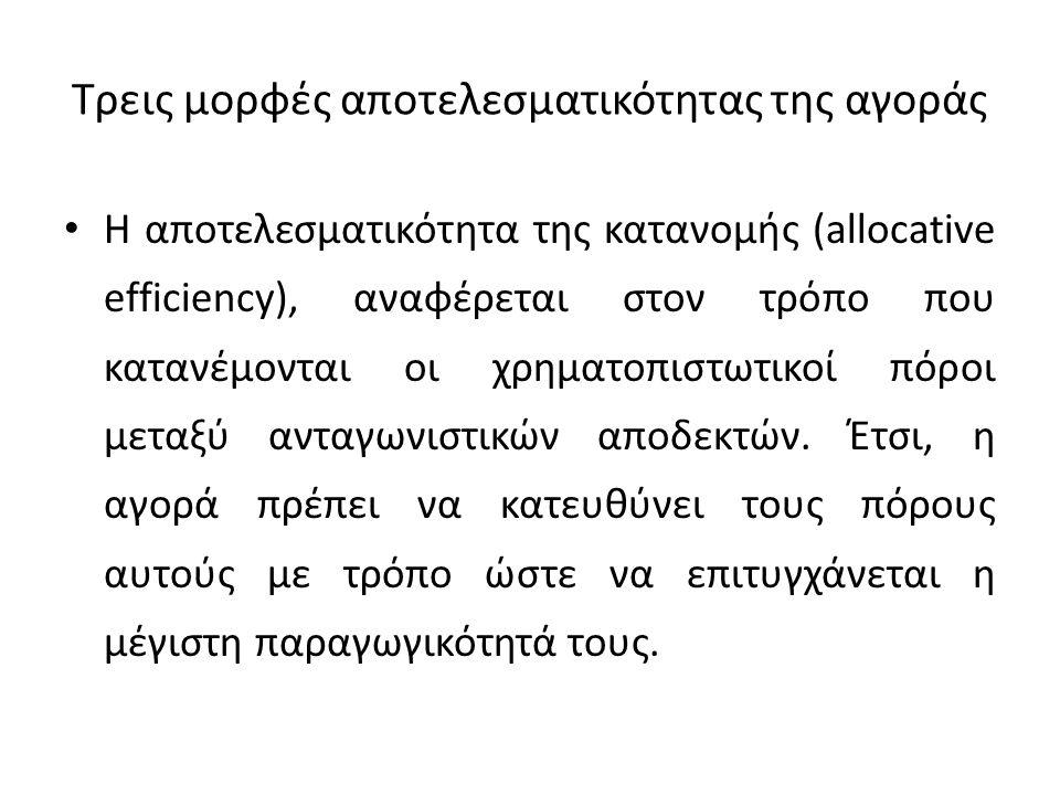 Τρεις μορφές αποτελεσματικότητας της αγοράς Η αποτελεσματικότητα της κατανομής (allocative efficiency), αναφέρεται στον τρόπο που κατανέμονται οι χρημ