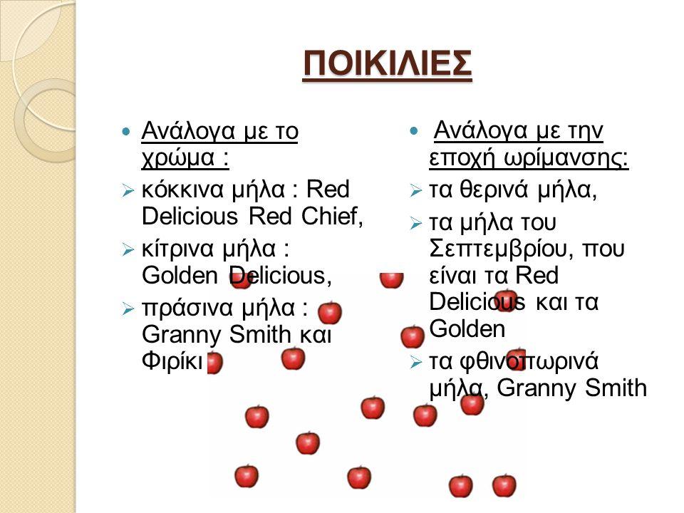 ΠΟΙΚΙΛΙΕΣ Ανάλογα με το χρώμα :  κόκκινα μήλα : Red Delicious Red Chief,  κίτρινα μήλα : Golden Delicious,  πράσινα μήλα : Granny Smith και Φιρίκι Ανάλογα με την εποχή ωρίμανσης:  τα θερινά μήλα,  τα μήλα του Σεπτεμβρίου, που είναι τα Red Delicious και τα Golden  τα φθινοπωρινά μήλα, Granny Smith