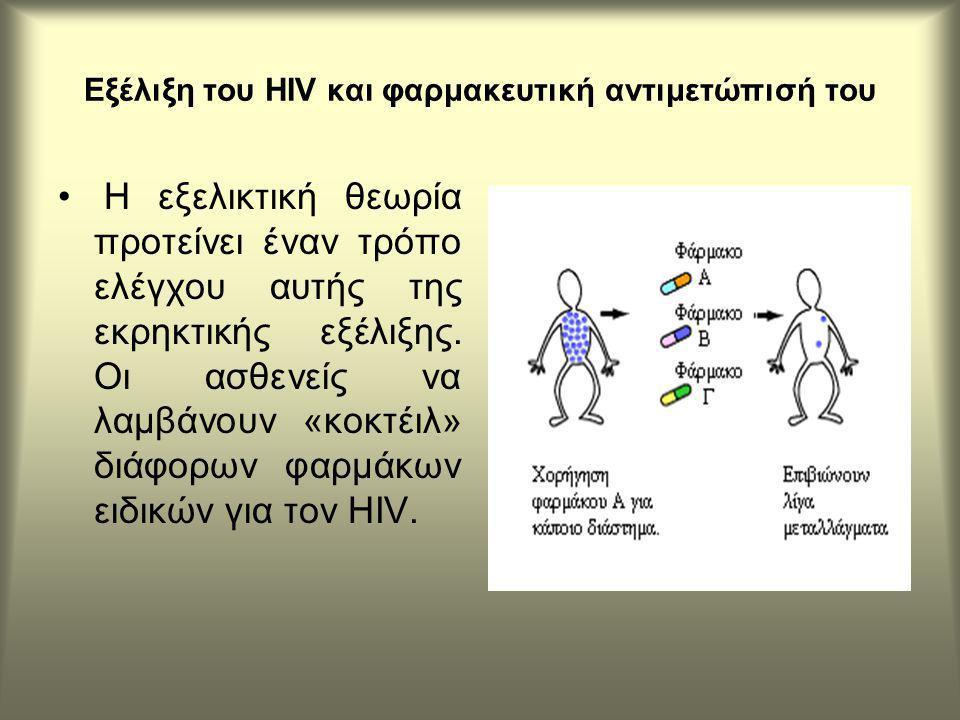 Εξέλιξη του HIV και φαρμακευτική αντιμετώπισή του Η εξελικτική θεωρία προτείνει έναν τρόπο ελέγχου αυτής της εκρηκτικής εξέλιξης.