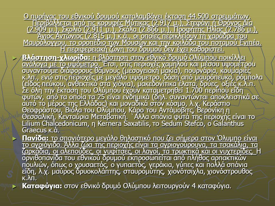 Ο πυρήνας του εθνικού δρυμού καταλαμβάνει έκταση 44.500 στρεμμάτων. Περιβάλλεται από τις κορυφές Μύτικας (2.917 μ.), Στεφάνι ή Θρόνος Δία (2.909 μ.),