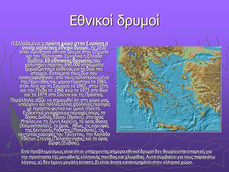 Εθνικοί δρυμοί Η Ελλάδα είναι η πρώτη χώρα στην Ευρώπη η οποία απέκτησε εθνικό δρυμό, το 1938 όπου ιδρύθηκαν εθνικοί δρυμοί στον Όλυμπο και τον Παρνασ