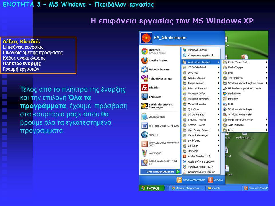ΕΝΟΤΗΤΑ 3 – MS Windows – Περιβάλλον εργασίας Λέξεις Κλειδιά: Επιφάνεια εργασίας, Εικονίδια άμεσης πρόσβασης Κάδος ανακύκλωσης Πλήκτρο έναρξης Γραμμή εργασιών Η επιφάνεια εργασίας των MS Windows XP Τέλος από το πλήκτρο της έναρξης και την επιλογή Όλα τα προγράμματα, έχουμε πρόσβαση στα «συρτάρια μας» όπου θα βρούμε όλα τα εγκατεστημένα προγράμματα.