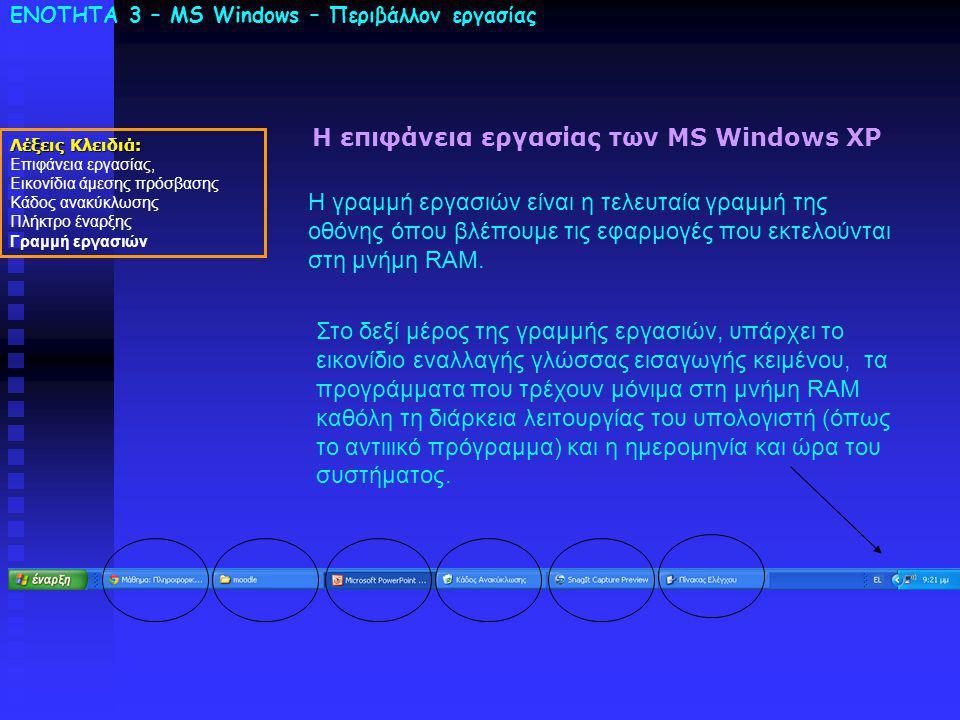 ΕΝΟΤΗΤΑ 3 – MS Windows – Περιβάλλον εργασίας Λέξεις Κλειδιά: Επιφάνεια εργασίας, Εικονίδια άμεσης πρόσβασης Κάδος ανακύκλωσης Πλήκτρο έναρξης Γραμμή εργασιών Η επιφάνεια εργασίας των MS Windows XP Η γραμμή εργασιών είναι η τελευταία γραμμή της οθόνης όπου βλέπουμε τις εφαρμογές που εκτελούνται στη μνήμη RAM.