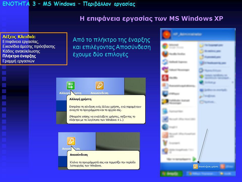 ΕΝΟΤΗΤΑ 3 – MS Windows – Περιβάλλον εργασίας Λέξεις Κλειδιά: Επιφάνεια εργασίας, Εικονίδια άμεσης πρόσβασης Κάδος ανακύκλωσης Πλήκτρο έναρξης Γραμμή εργασιών Η επιφάνεια εργασίας των MS Windows XP Από το πλήκτρο της έναρξης και επιλέγοντας Αποσύνδεση έχουμε δύο επιλογές