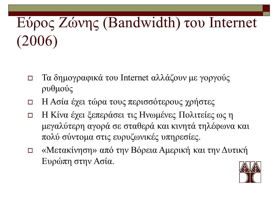 Εύρος Ζώνης (Bandwidth) του Internet (2006)  Τα δημογραφικά του Internet αλλάζουν με γοργούς ρυθμούς  Η Ασία έχει τώρα τους περισσότερους χρήστες 