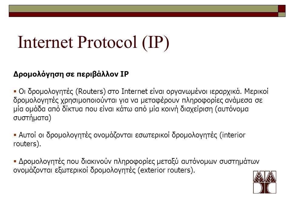 Internet Protocol (IP) Δρομολόγηση σε περιβάλλον IP  Οι δρομολογητές (Routers) στο Internet είναι οργανωμένοι ιεραρχικά. Μερικοί δρομολογητές χρησιμο