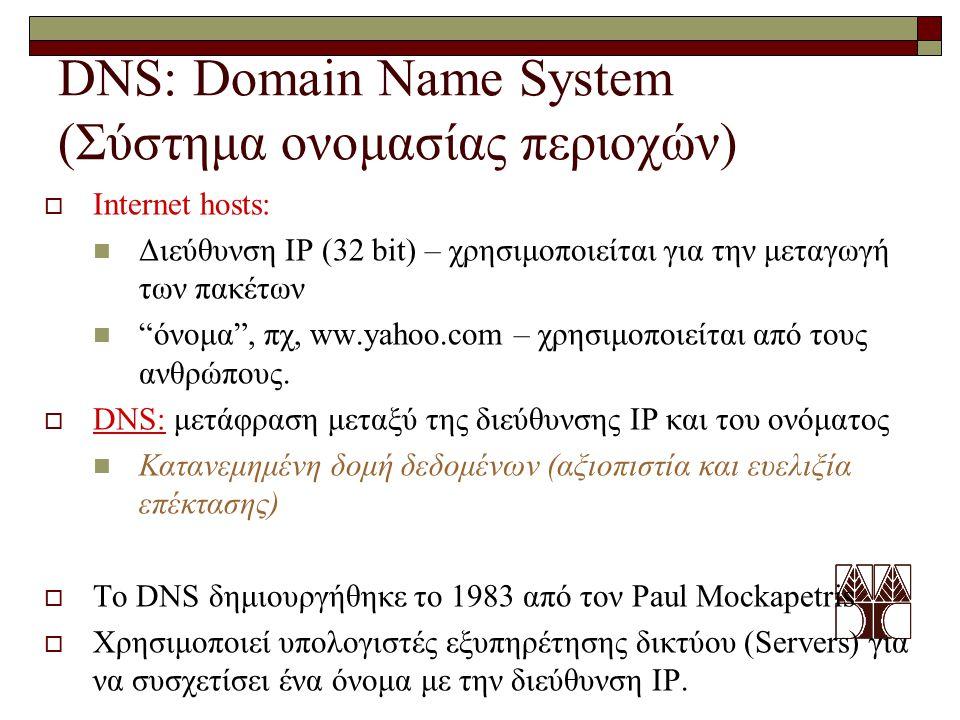 "DNS: Domain Name System (Σύστημα ονομασίας περιοχών)  Internet hosts: Διεύθυνση IP (32 bit) – χρησιμοποιείται για την μεταγωγή των πακέτων ""όνομα"", π"