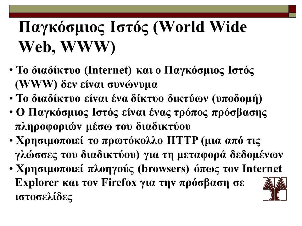 Παγκόσμιος Ιστός (World Wide Web, WWW) Το διαδίκτυο (Internet) και ο Παγκόσμιος Ιστός (WWW) δεν είναι συνώνυμα Το διαδίκτυο είναι ένα δίκτυο δικτύων (