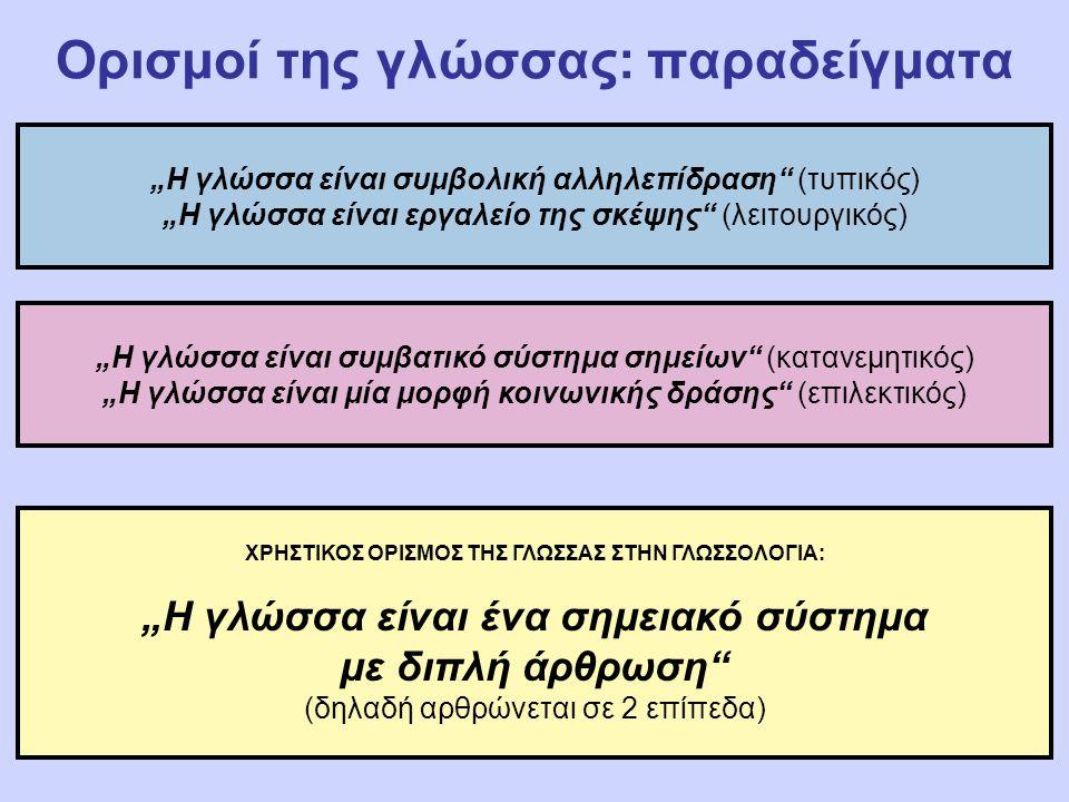 """Ορισμοί της γλώσσας: παραδείγματα """"Η γλώσσα είναι συμβολική αλληλεπίδραση (τυπικός) """"Η γλώσσα είναι εργαλείο της σκέψης (λειτουργικός) """"Η γλώσσα είναι συμβατικό σύστημα σημείων (κατανεμητικός) """"Η γλώσσα είναι μία μορφή κοινωνικής δράσης (επιλεκτικός) ΧΡΗΣΤΙΚΟΣ ΟΡΙΣΜΟΣ ΤΗΣ ΓΛΩΣΣΑΣ ΣΤΗΝ ΓΛΩΣΣΟΛΟΓΙΑ: """"Η γλώσσα είναι ένα σημειακό σύστημα με διπλή άρθρωση (δηλαδή αρθρώνεται σε 2 επίπεδα)"""