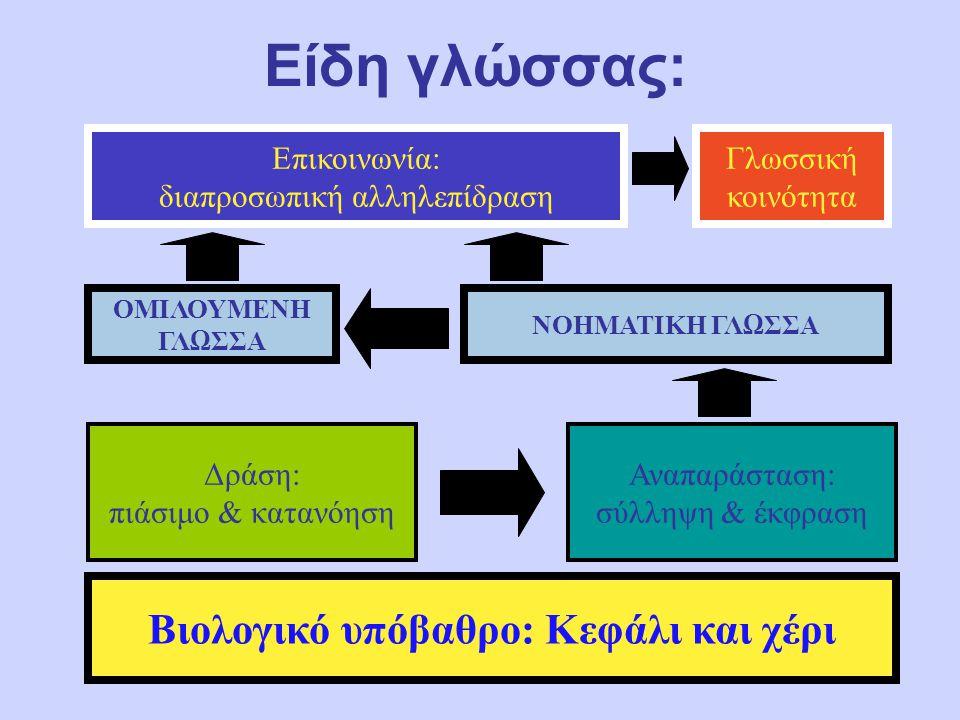 Είδη γλώσσας: Βιολογικό υπόβαθρο: Κεφάλι και χέρι Δράση: πιάσιμο & κατανόηση Αναπαράσταση: σύλληψη & έκφραση ΟΜΙΛΟΥΜΕΝΗ ΓΛΩΣΣΑ Επικοινωνία: διαπροσωπική αλληλεπίδραση Γλωσσική κοινότητα ΝΟΗΜΑΤΙΚΗ ΓΛΩΣΣΑ