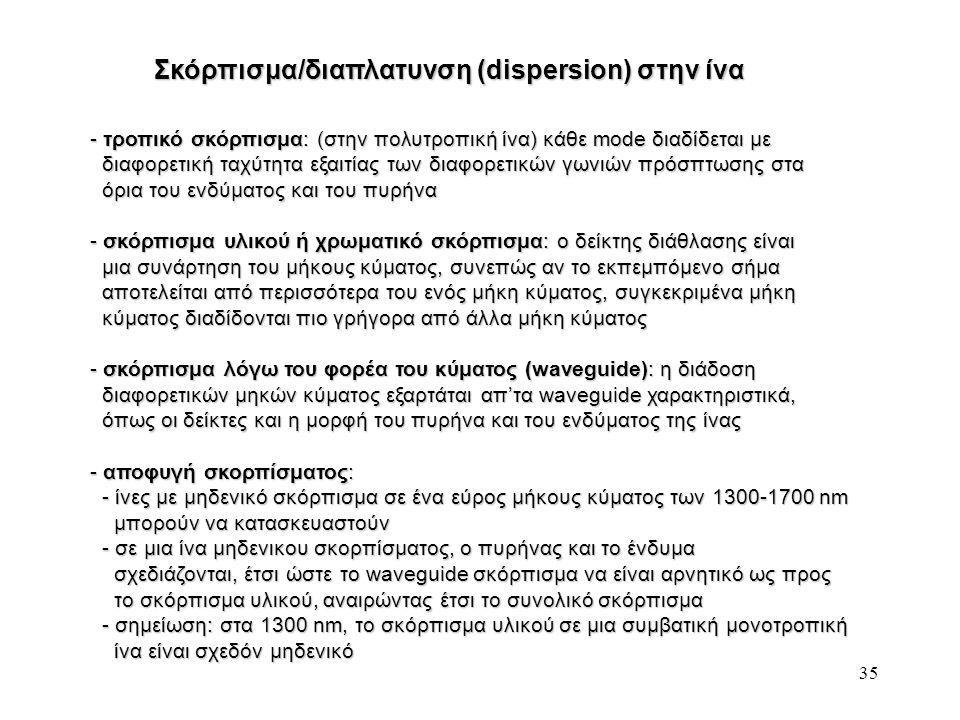 35 Σκόρπισμα/διαπλατυνση (dispersion) στην ίνα - τροπικό σκόρπισμα: (στην πολυτροπική ίνα) κάθε mode διαδίδεται με διαφορετική ταχύτητα εξαιτίας των διαφορετικών γωνιών πρόσπτωσης στα διαφορετική ταχύτητα εξαιτίας των διαφορετικών γωνιών πρόσπτωσης στα όρια του ενδύματος και του πυρήνα όρια του ενδύματος και του πυρήνα - σκόρπισμα υλικού ή χρωματικό σκόρπισμα: ο δείκτης διάθλασης είναι μια συνάρτηση του μήκους κύματος, συνεπώς αν το εκπεμπόμενο σήμα μια συνάρτηση του μήκους κύματος, συνεπώς αν το εκπεμπόμενο σήμα αποτελείται από περισσότερα του ενός μήκη κύματος, συγκεκριμένα μήκη αποτελείται από περισσότερα του ενός μήκη κύματος, συγκεκριμένα μήκη κύματος διαδίδονται πιο γρήγορα από άλλα μήκη κύματος κύματος διαδίδονται πιο γρήγορα από άλλα μήκη κύματος - σκόρπισμα λόγω του φορέα του κύματος (waveguide): η διάδοση διαφορετικών μηκών κύματος εξαρτάται απ'τα waveguide χαρακτηριστικά, διαφορετικών μηκών κύματος εξαρτάται απ'τα waveguide χαρακτηριστικά, όπως οι δείκτες και η μορφή του πυρήνα και του ενδύματος της ίνας όπως οι δείκτες και η μορφή του πυρήνα και του ενδύματος της ίνας - αποφυγή σκορπίσματος: - ίνες με μηδενικό σκόρπισμα σε ένα εύρος μήκους κύματος των 1300-1700 nm - ίνες με μηδενικό σκόρπισμα σε ένα εύρος μήκους κύματος των 1300-1700 nm μπορούν να κατασκευαστούν μπορούν να κατασκευαστούν - σε μια ίνα μηδενικου σκορπίσματος, ο πυρήνας και το ένδυμα - σε μια ίνα μηδενικου σκορπίσματος, ο πυρήνας και το ένδυμα σχεδιάζονται, έτσι ώστε το waveguide σκόρπισμα να είναι αρνητικό ως προς σχεδιάζονται, έτσι ώστε το waveguide σκόρπισμα να είναι αρνητικό ως προς το σκόρπισμα υλικού, αναιρώντας έτσι το συνολικό σκόρπισμα το σκόρπισμα υλικού, αναιρώντας έτσι το συνολικό σκόρπισμα - σημείωση: στα 1300 nm, το σκόρπισμα υλικού σε μια συμβατική μονοτροπική - σημείωση: στα 1300 nm, το σκόρπισμα υλικού σε μια συμβατική μονοτροπική ίνα είναι σχεδόν μηδενικό ίνα είναι σχεδόν μηδενικό