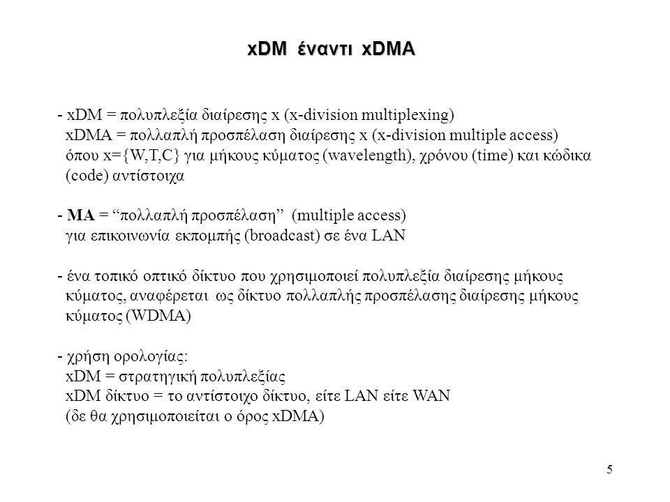 5 - xDM = πολυπλεξία διαίρεσης x (x-division multiplexing) xDMA = πολλαπλή προσπέλαση διαίρεσης x (x-division multiple access) όπου x={W,T,C} για μήκους κύματος (wavelength), χρόνου (time) και κώδικα (code) αντίστοιχα - ΜΑ = πολλαπλή προσπέλαση (multiple access) για επικοινωνία εκπομπής (broadcast) σε ένα LAN - ένα τοπικό οπτικό δίκτυο που χρησιμοποιεί πολυπλεξία διαίρεσης μήκους κύματος, αναφέρεται ως δίκτυο πολλαπλής προσπέλασης διαίρεσης μήκους κύματος (WDMA) - χρήση ορολογίας: xDM = στρατηγική πολυπλεξίας xDM δίκτυο = το αντίστοιχο δίκτυο, είτε LAN είτε WAN (δε θα χρησιμοποιείται ο όρος xDMA) xDM έναντι xDMA