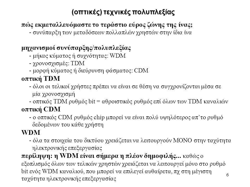 6 (οπτικές) τεχνικές πολυπλεξίας πώς εκμεταλλευόμαστε το τεράστιο εύρος ζώνης της ίνας; - συνύπαρξη των μεταδόσεων πολλαπλών χρηστών στην ίδια ίνα μηχανισμοί συνύπαρξης/πολυπλεξίας - μήκος κύματος ή συχνότητας: WDM - χρονοσχισμές: TDM - μορφή κύματος ή διεύρυνση φάσματος: CDM οπτική TDM - όλοι οι τελικοί χρήστες πρέπει να είναι σε θέση να συγχρονίζονται μέσα σε μία χρονοσχισμή - οπτικός TDM ρυθμός bit = αθροιστικός ρυθμός επί όλων των TDM καναλιών οπτική CDM - ο οπτικός CDM ρυθμός chip μπορεί να είναι πολύ υψηλότερος απ'το ρυθμό δεδομένων του κάθε χρήστη WDM - όλα τα στοιχεία του δικτύου χρειάζεται να λειτουργούν ΜΟΝΟ στην ταχύτητα ηλεκτρονικής επεξεργασίας περίληψη: η WDM είναι σήμερα η πλέον δημοφιλής...