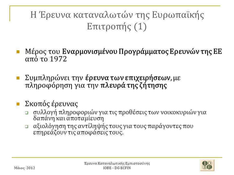 Έρευνα Καταναλωτικής Εμπιστοσύνης ΙΟΒΕ - DG ECFIN H Έρευνα καταναλωτών της Ευρωπαϊκής Επιτροπής (1) Μέρος του Εναρμονισμένου Προγράμματος Ερευνών της ΕΕ από το 1972 Συμπληρώνει την έρευνα των επιχειρήσεων, με πληροφόρηση για την πλευρά της ζήτησης Σκοπός έρευνας  συλλογή πληροφοριών για τις προθέσεις των νοικοκυριών για δαπάνη και αποταμίευση  αξιολόγηση της αντίληψής τους για τους παράγοντες που επηρεάζουν τις αποφάσεις τους.