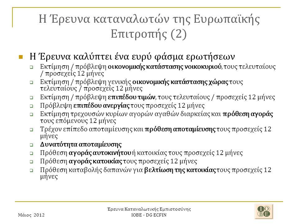 Μάιος 2012 Έρευνα Καταναλωτικής Εμπιστοσύνης ΙΟΒΕ - DG ECFIN H Έρευνα καταναλωτών της Ευρωπαϊκής Επιτροπής (2) Η Έρευνα καλύπτει ένα ευρύ φάσμα ερωτήσεων  Εκτίμηση / πρόβλεψη οικονομικής κατάστασης νοικοκυριού, τους τελευταίους / προσεχείς 12 μήνες  Εκτίμηση / πρόβλεψη γενικής οικονομικής κατάστασης χώρας τους τελευταίους / προσεχείς 12 μήνες  Εκτίμηση / πρόβλεψη επιπέδου τιμών, τους τελευταίους / προσεχείς 12 μήνες  Πρόβλεψη επιπέδου ανεργίας τους προσεχείς 12 μήνες  Εκτίμηση τρεχουσών κυρίων αγορών αγαθών διαρκείας και πρόθεση αγοράς τους επόμενους 12 μήνες  Τρέχον επίπεδο αποταμίευσης και πρόθεση αποταμίευσης τους προσεχείς 12 μήνες  Δυνατότητα αποταμίευσης  Πρόθεση αγοράς αυτοκινήτου ή κατοικίας τους προσεχείς 12 μήνες  Πρόθεση αγοράς κατοικίας τους προσεχείς 12 μήνες  Πρόθεση καταβολής δαπανών για βελτίωση της κατοικίας τους προσεχείς 12 μήνες