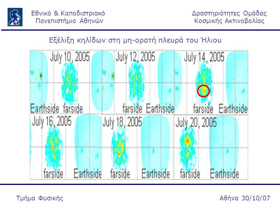 Δραστηριότητες Ομάδας Κοσμικής Ακτινοβολίας Εθνικό & Καποδιστριακό Πανεπιστήμιο Αθηνών Αθήνα 30/10/07Τμήμα Φυσικής Εξέλιξη κηλίδων στη μη-ορατή πλευρά του Ήλιου