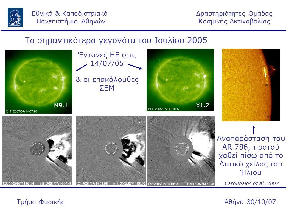 Δραστηριότητες Ομάδας Κοσμικής Ακτινοβολίας Εθνικό & Καποδιστριακό Πανεπιστήμιο Αθηνών Αθήνα 30/10/07Τμήμα Φυσικής Τα σημαντικότερα γεγονότα του Ιουλίου 2005 Μ9.1Χ1.2 & οι επακόλουθες ΣΕΜ Έντονες ΗΕ στις 14/07/05 Αναπαράσταση του AR 786, προτού χαθεί πίσω από το Δυτικό χείλος του Ήλιου Caroubalos et al, 2007