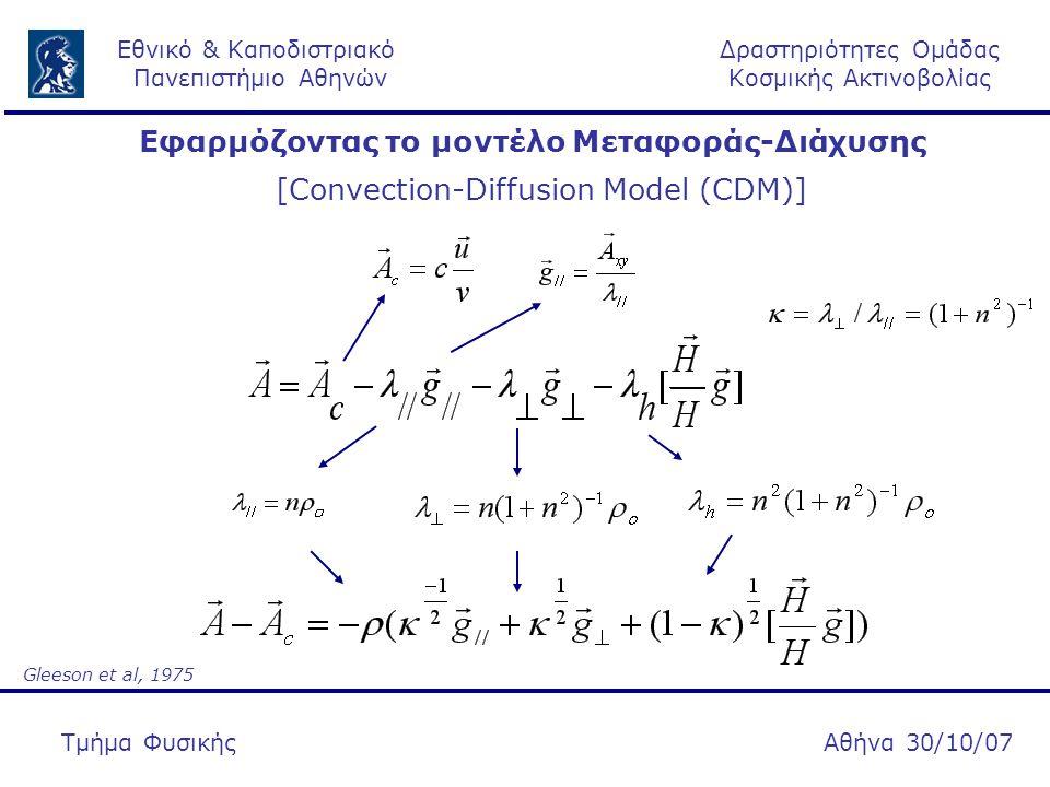 Δραστηριότητες Ομάδας Κοσμικής Ακτινοβολίας Εθνικό & Καποδιστριακό Πανεπιστήμιο Αθηνών Αθήνα 30/10/07Τμήμα Φυσικής Εφαρμόζοντας το μοντέλο Μεταφοράς-Διάχυσης [Convection-Diffusion Model (CDM)] Gleeson et al, 1975