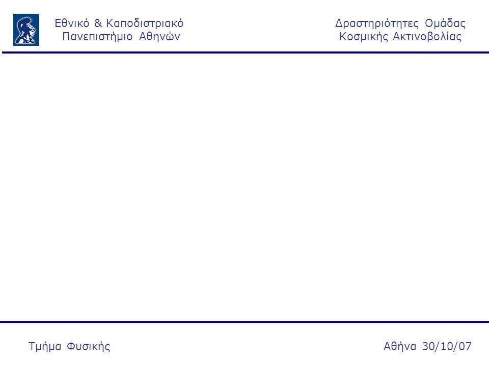 Δραστηριότητες Ομάδας Κοσμικής Ακτινοβολίας Εθνικό & Καποδιστριακό Πανεπιστήμιο Αθηνών Αθήνα 30/10/07Τμήμα Φυσικής