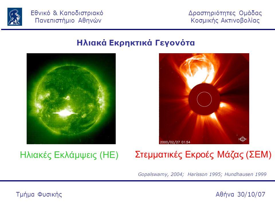 Δραστηριότητες Ομάδας Κοσμικής Ακτινοβολίας Εθνικό & Καποδιστριακό Πανεπιστήμιο Αθηνών Αθήνα 30/10/07Τμήμα Φυσικής Περισσότερες από 6 ΣΕΜ ανά ημέρα Περισσότερα 12 ΗΕ ανά ημέρα