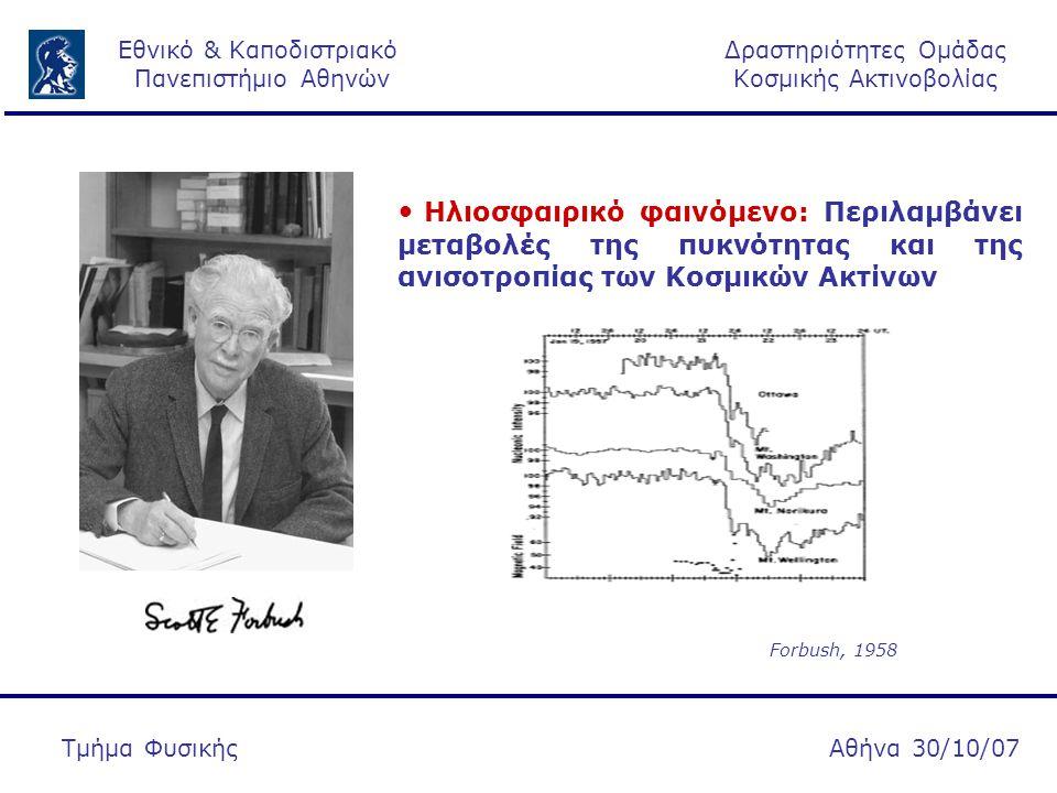 Δραστηριότητες Ομάδας Κοσμικής Ακτινοβολίας Εθνικό & Καποδιστριακό Πανεπιστήμιο Αθηνών Αθήνα 30/10/07Τμήμα Φυσικής Για να χαρακτηριστεί ένα γεγονός ως γεωμαγνητικό θα πρέπει Dst < -80 nT ( Iyemori et al., 1996)  16.07, 15:00 UT Kp: 3 Γεωμαγνητική Δραστηριότητα  17.07, 01:45 UT Kp: 3  17.07, 12:00 UT Kp: 5  16.07, 15:00 UT Dst: - 18nT  17.07, 01:45 UT Dst: - 8 nT  17.07, 12:00 UT Dst: - 60nT