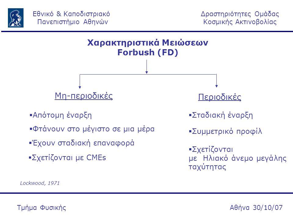Δραστηριότητες Ομάδας Κοσμικής Ακτινοβολίας Εθνικό & Καποδιστριακό Πανεπιστήμιο Αθηνών Αθήνα 30/10/07Τμήμα Φυσικής Χαρακτηριστικά Μειώσεων Forbush (FD) Μη-περιοδικές Περιοδικές  Απότομη έναρξη  Φτάνουν στο μέγιστο σε μια μέρα  Έχουν σταδιακή επαναφορά  Σχετίζονται με CMEs  Σταδιακή έναρξη  Συμμετρικό προφίλ  Σχετίζονται με Ηλιακό άνεμο μεγάλης ταχύτητας Lockwood, 1971
