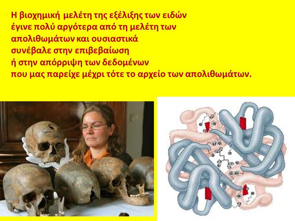 Η βιοχημική μελέτη της εξέλιξης των ειδών έγινε πολύ αργότερα από τη μελέτη των απολιθωμάτων και ουσιαστικά συνέβαλε στην επιβεβαίωση ή στην απόρριψη