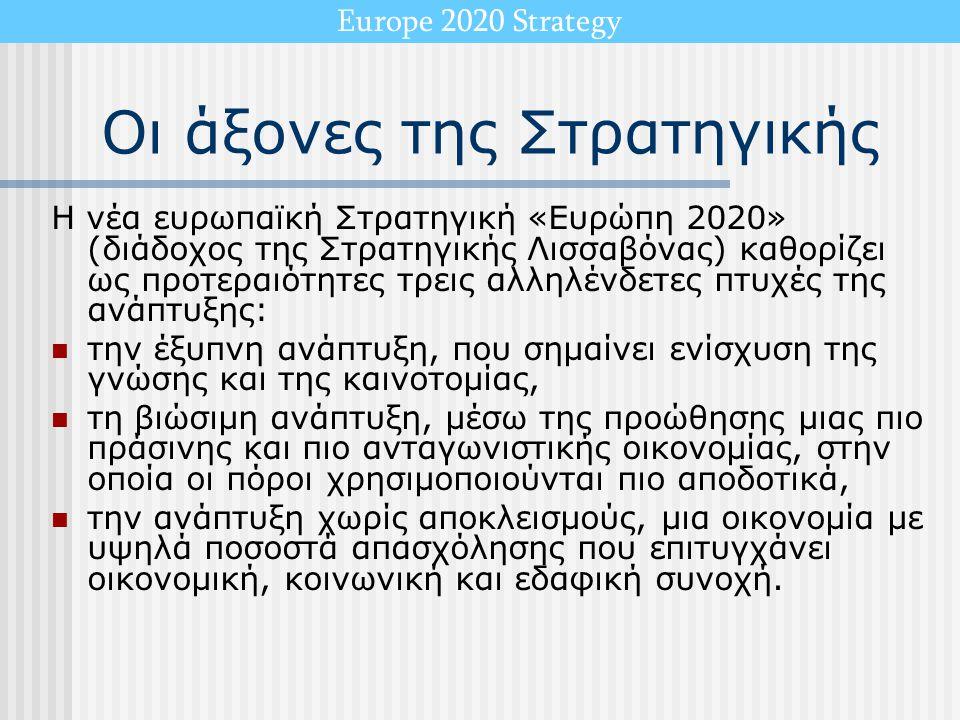 Οι άξονες της Στρατηγικής Η νέα ευρωπαϊκή Στρατηγική «Ευρώπη 2020» (διάδοχος της Στρατηγικής Λισσαβόνας) καθορίζει ως προτεραιότητες τρεις αλληλένδετε