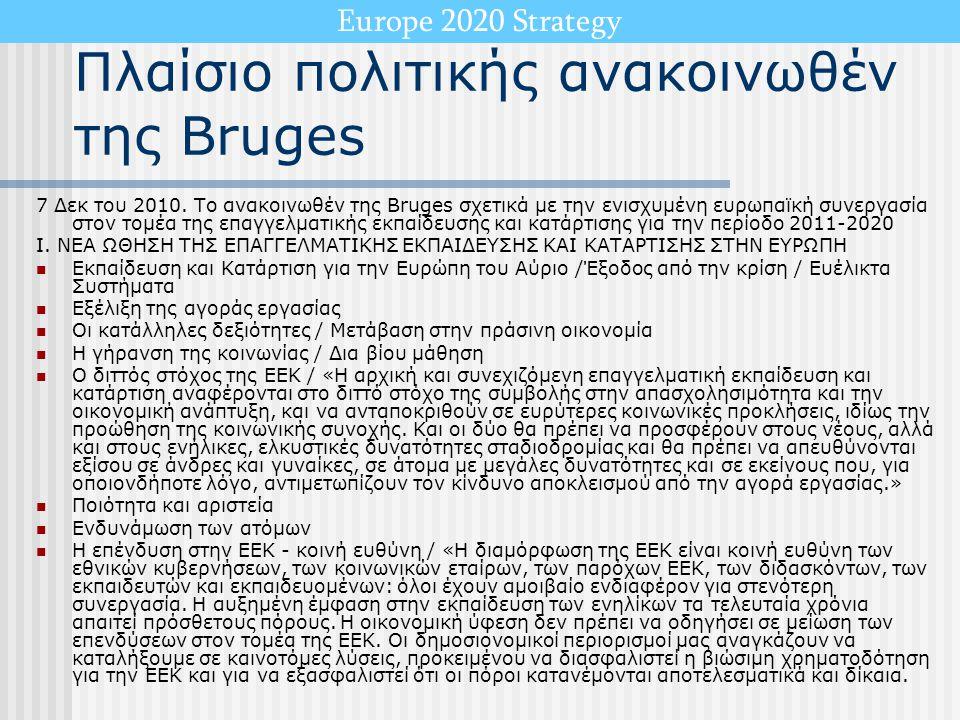 Europe 2020 Strategy Πλαίσιο πολιτικής ανακοινωθέν της Bruges 7 Δεκ του 2010. Το ανακοινωθέν της Bruges σχετικά με την ενισχυμένη ευρωπαϊκή συνεργασία