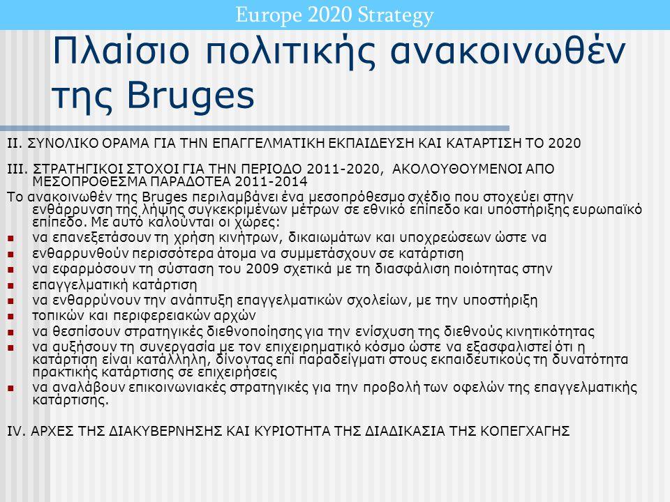 Europe 2020 Strategy Πλαίσιο πολιτικής ανακοινωθέν της Bruges II. ΣΥΝΟΛΙΚΟ ΟΡΑΜΑ ΓΙΑ ΤΗΝ ΕΠΑΓΓΕΛΜΑΤΙΚΗ ΕΚΠΑΙΔΕΥΣΗ ΚΑΙ ΚΑΤΑΡΤΙΣΗ ΤΟ 2020 III. ΣΤΡΑΤΗΓΙΚ