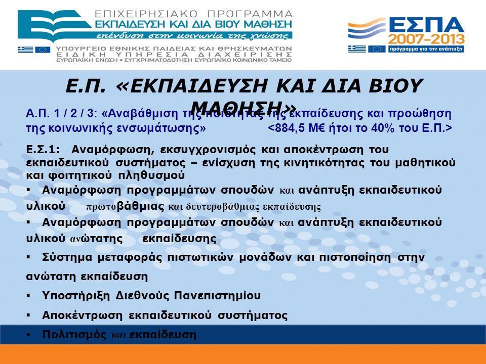 Α.Π. 1 / 2 / 3: «Αναβάθμιση της ποιότητας της εκπαίδευσης και προώθηση της κοινωνικής ενσωμάτωσης» Ε.Σ.1: Αναμόρφωση, εκσυγχρονισμός και αποκέντρωση τ