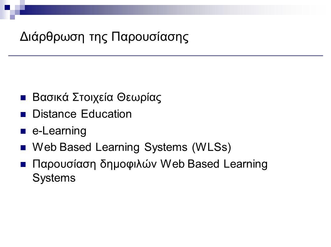 Διάρθρωση της Παρουσίασης Βασικά Στοιχεία Θεωρίας Distance Education e-Learning Web Based Learning Systems (WLSs) Παρουσίαση δημοφιλών Web Based Learning Systems