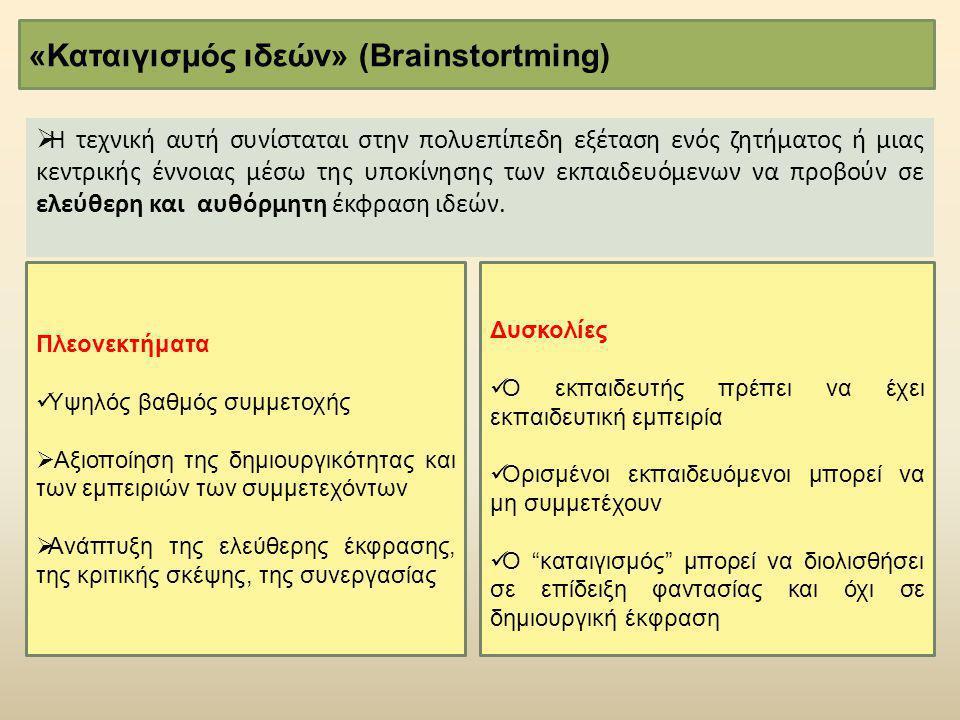 «Καταιγισμός ιδεών» (Brainstortming)  Η τεχνική αυτή συνίσταται στην πολυεπίπεδη εξέταση ενός ζητήματος ή μιας κεντρικής έννοιας μέσω της υποκίνησης