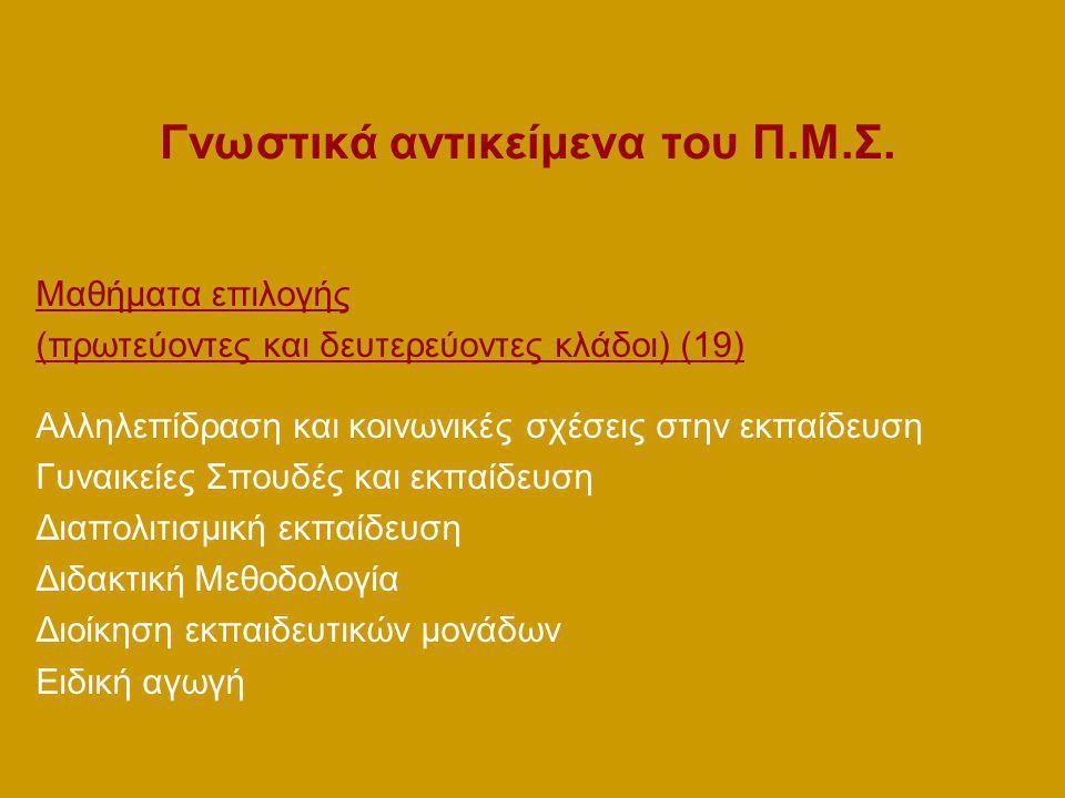 Γνωστικά αντικείμενα του Π.Μ.Σ.