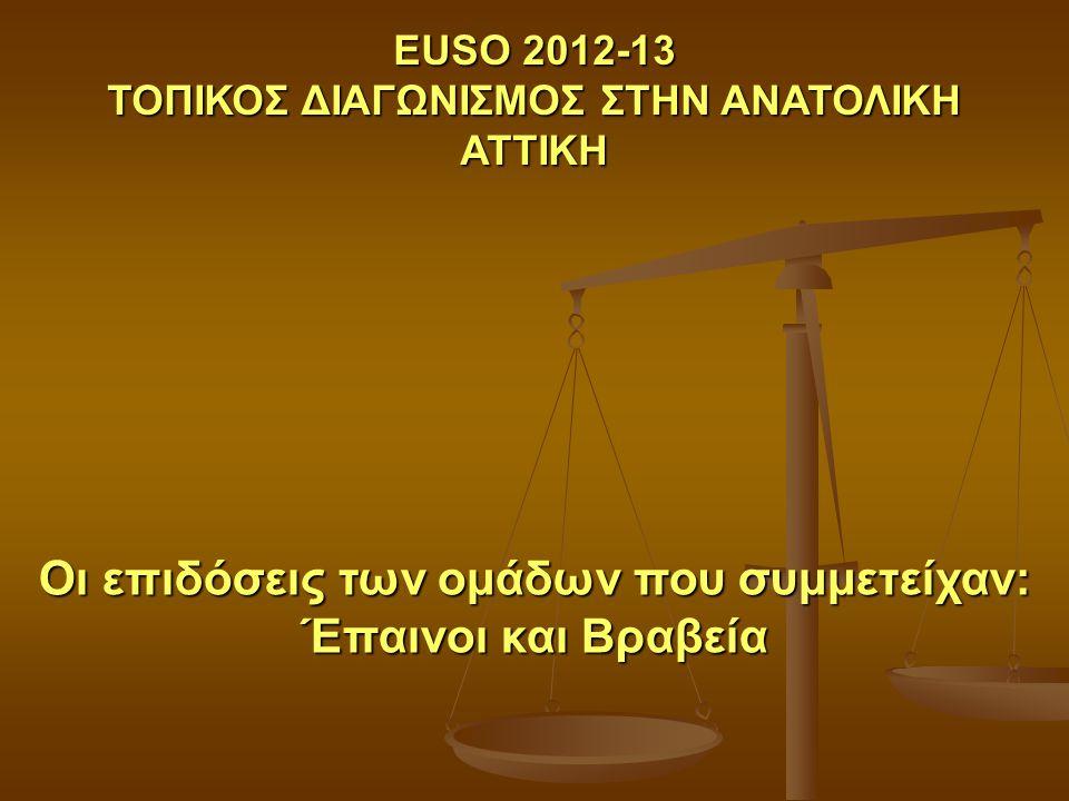 Οι επιδόσεις των ομάδων που συμμετείχαν: Έπαινοι και Βραβεία EUSO 2012-13 ΤΟΠΙΚΟΣ ΔΙΑΓΩΝΙΣΜΟΣ ΣΤΗΝ ΑΝΑΤΟΛΙΚΗ ΑΤΤΙΚΗ