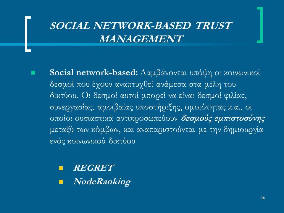 14 SOCIAL NETWORK-BASED TRUST MANAGEMENT Social network-based: Λαμβάνονται υπόψη οι κοινωνικοί δεσμοί που έχουν αναπτυχθεί ανάμεσα στα μέλη του δικτύου.